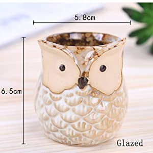 Beige Glazed Owl Pot