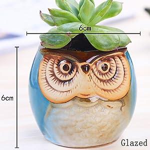 Blue Glazed Owl Pot