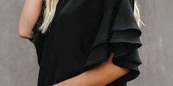 women tops blouses shirts casual tops for women summer, ruffle sleeve, 3/4 bell sleeve tops