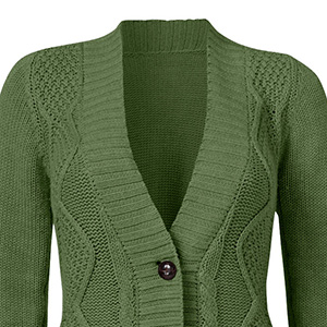 fe8d963709 luvamia Womens Long Sleeve Open Front Buttons Cable Knit Pocket ...