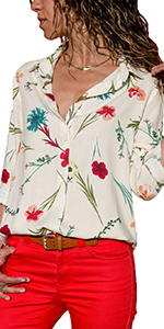 f909713050 Long sleeve front buttons henley shirt · Floral print v neck button up shirt  · Side buttons chiffon tops blouse