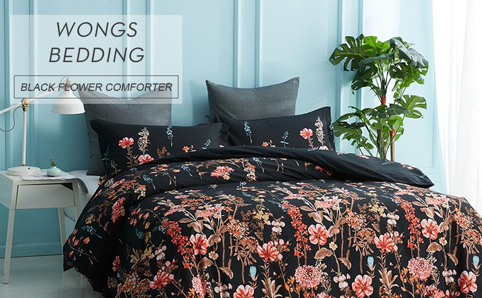 Black Comforter Set Floral