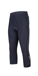 Women's 3D Padded Compression Cycling Tights 3/4 Pants Wide Waistband UPF 50+