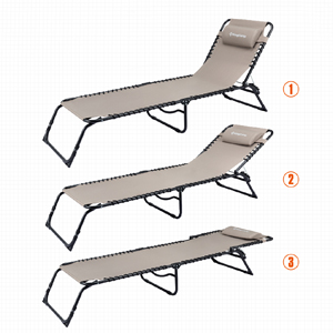 KingCamp Chaise Lounge Chair Camping Adjustable Recliner Sunbathing Beach Pool Bed Cot with Pillow