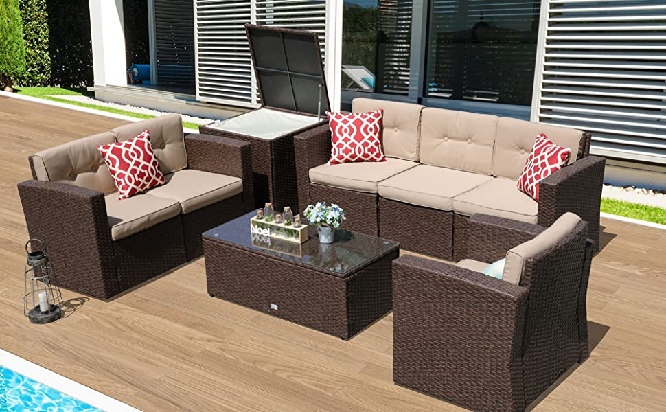 Amazon Com Super Patio Patio Furniture 8 Piece Outdoor Furniture Set Wicker Sectional Furniture With Storage Table Beige Cushions Three Red Pillows Brown Wicker Garden Outdoor