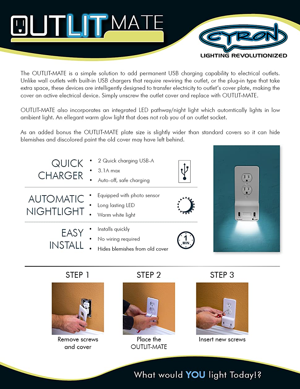 Cyron Outlitmate Dual Usb Port Wall Quick Charger Outlet Duplex Led Nightlight And Switch Wiring No Bulky Plugs Batteries More Lost Chargers