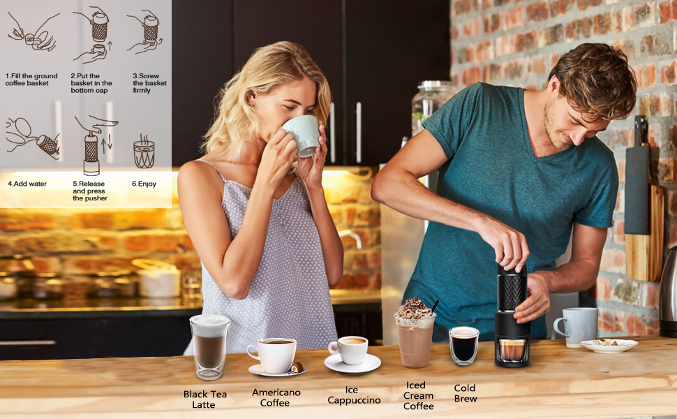 steps of using espresso maker