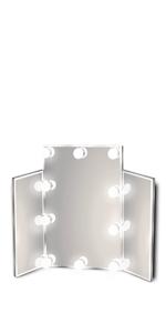 Waneway Lighted Vanity Mirror, Tri-fold
