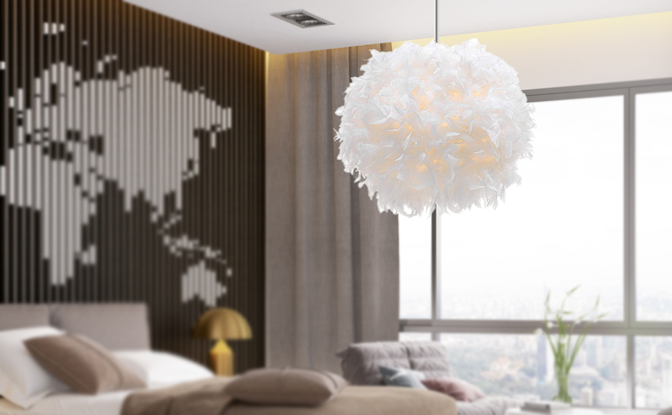 Waneway White Feather Ceiling Pendant Light Shade Dining Room and Bedroom Non-Electrical Lampshade for Floor Lamp and Table Lamp with Shade Reducing Ring for Living Room 11.8 inches