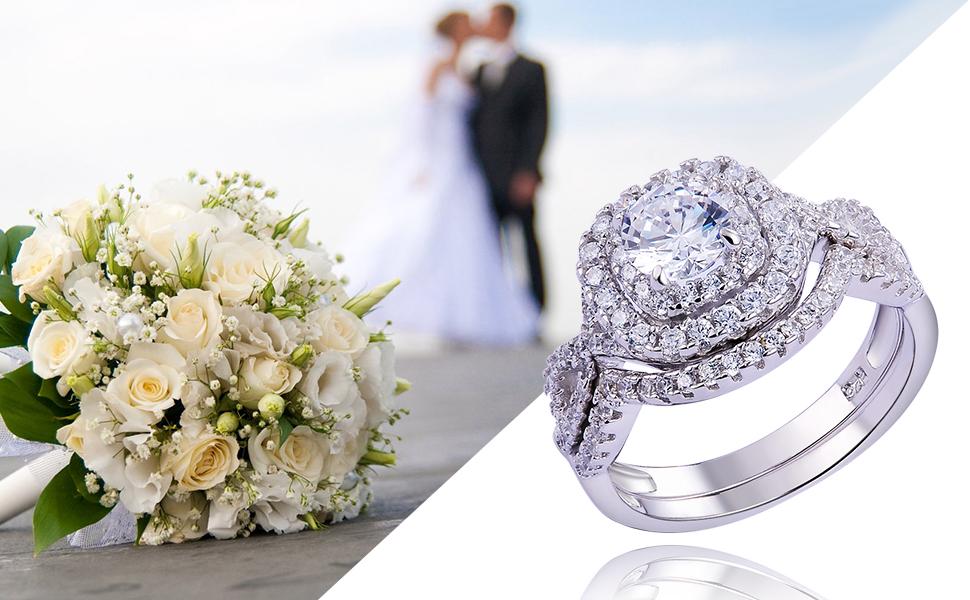 Newshe Women Wedding Engagement Ring Set