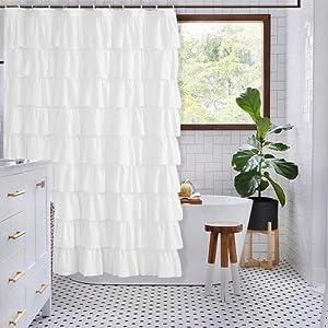 white shower curtain for farmhouse