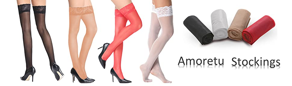 caeafa1166f Amazon.com  Amoretu Silky Sheer Thigh High Stockings with Lace Top ...