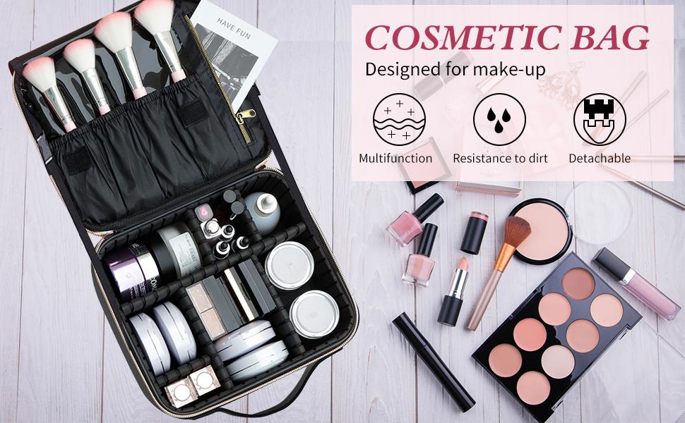 Travel Makeup Train Case Makeup Cosmetic Case Organizer Portable
