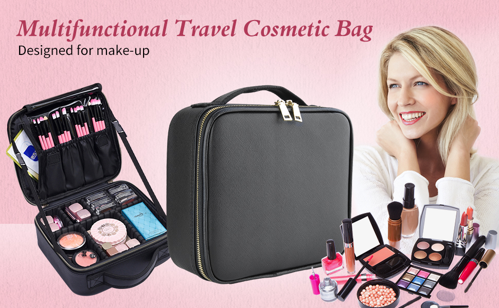 Travel Cosmetic Bag keeps up with the daily demands of make-up artists and make-up lovers alike