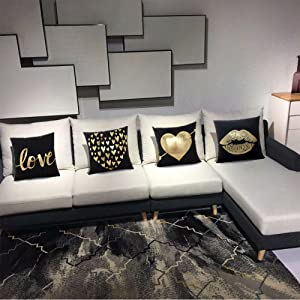 black and gold pillows