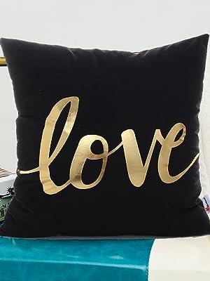 love  black gilded decorative pillow