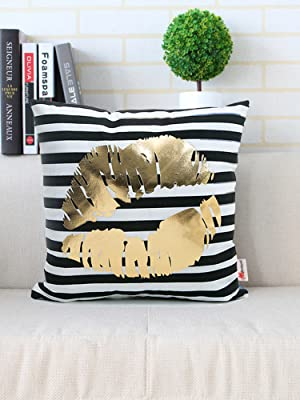 Black and white striped lips pillow cover
