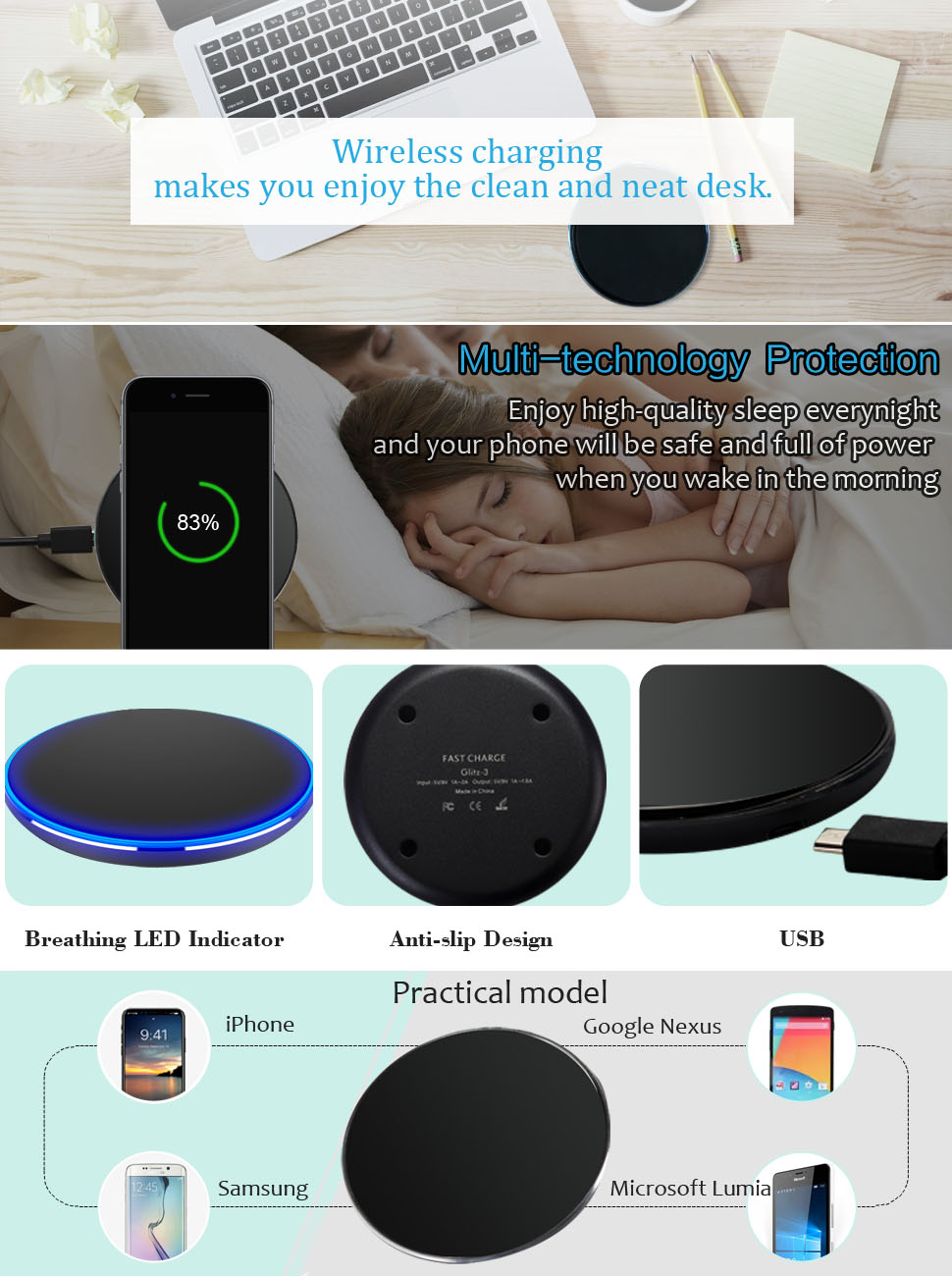 buy popular 54de0 dcf33 MiraCase Wireless Charger, Qi-Certified 10W Fast Wireless Charging Pad  Compatible with iPhone Xs/XS Max/XR/X/8/8 Plus, Nexus 5/6/7, Samsung Galaxy  ...