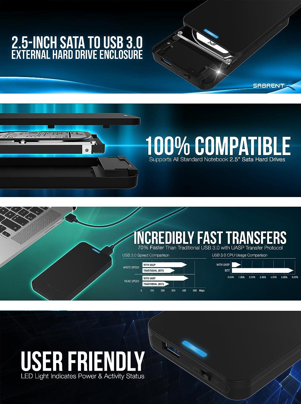 Amazon.com: Sabrent disco duro externo 2.5 pulgadas SATA ...
