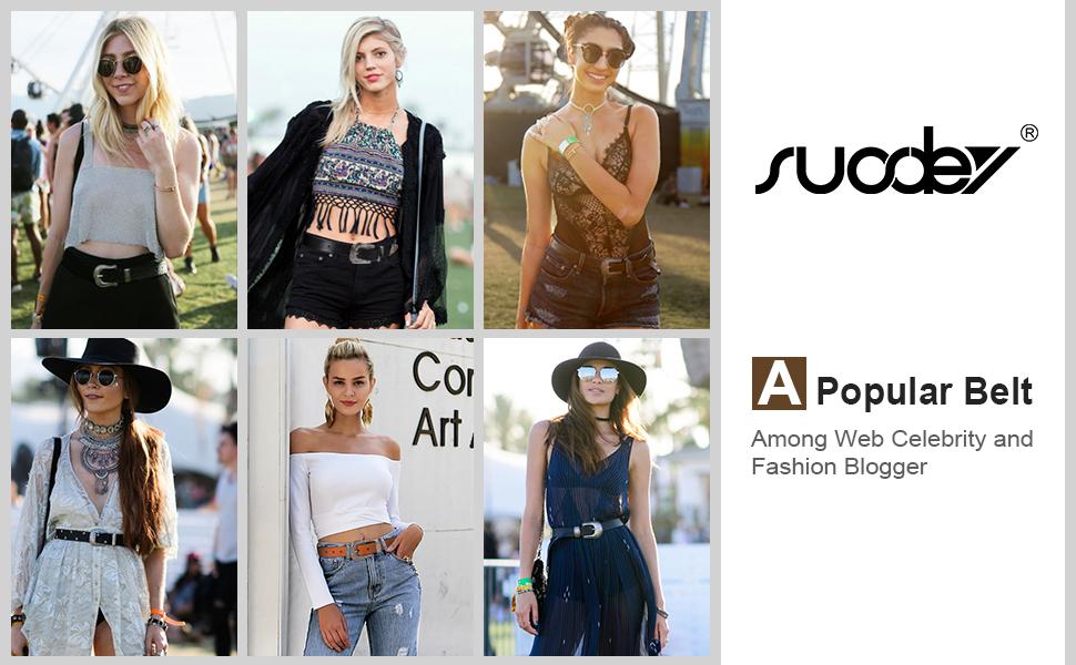 Amazon.com: SUOSDEY Cinturones de cuero genuino para mujer ...