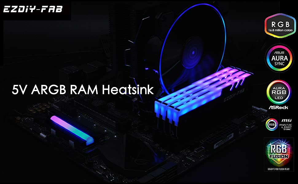 EZDIY-FAB RGB Addressable Memory RAM Cooler DDR Heatsink with Controller  for DIY PC Game MOD DDR3 DDR4 (Compatible with ASUS Aura Sync,GIGABYTE RGB