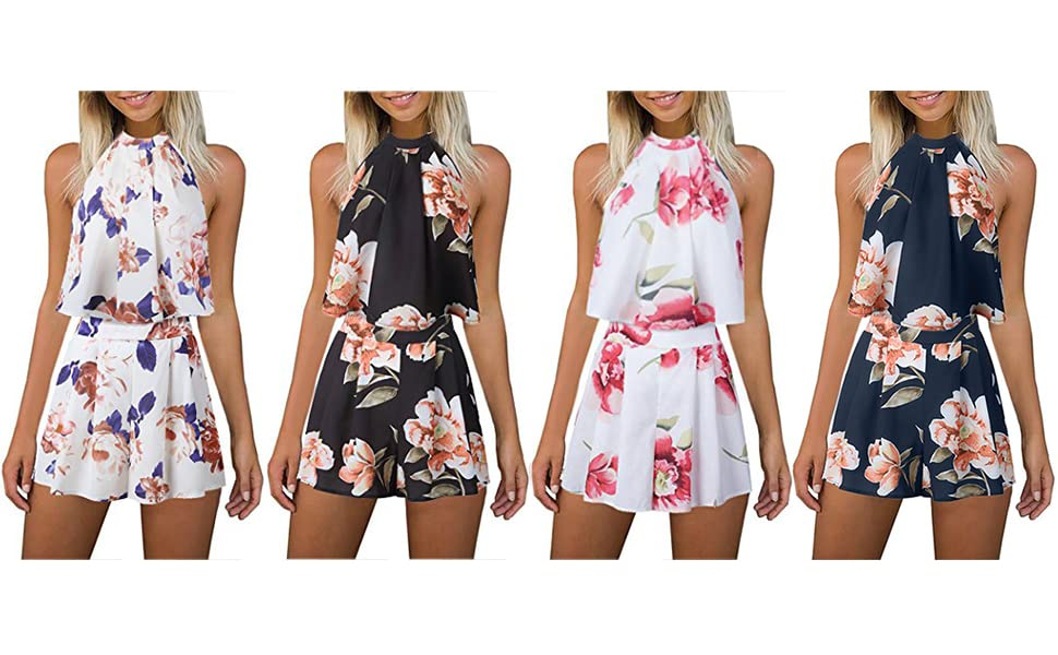 5eed7e53f944 Amazon.com  Women s Floral Printed Summer Dress Romper Boho Playsuit ...