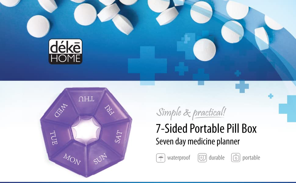 heptagon 7-Sided Portable Pill Box Medicine Planner Day Weekly Travel Container Vitamin Organizer