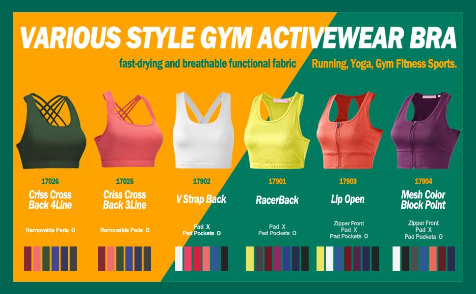 acc189e873e59 Regna X Women Racerback Sports Bras - Workout Gym Activewear Bra (S ...