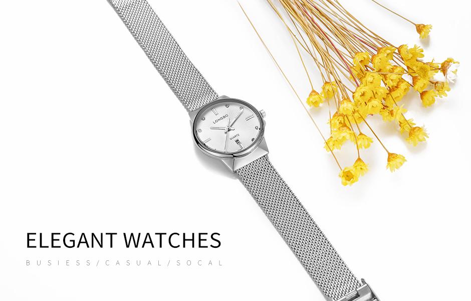 LONGBO Minimalist Fashion Casual Silver Womens Wristwatch