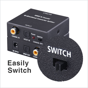 Easily Switch between SPDIF Optical Toslink to Digital Coaxial and Digital Coax to SPDIF Optical Toslink, do not need to pull out and plug the digital cable ...