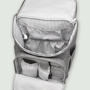 Inside the front compartment, there is a insulated pocket which aims to leave the babys food warm,a pocket to stay other things and elastic bands for ...