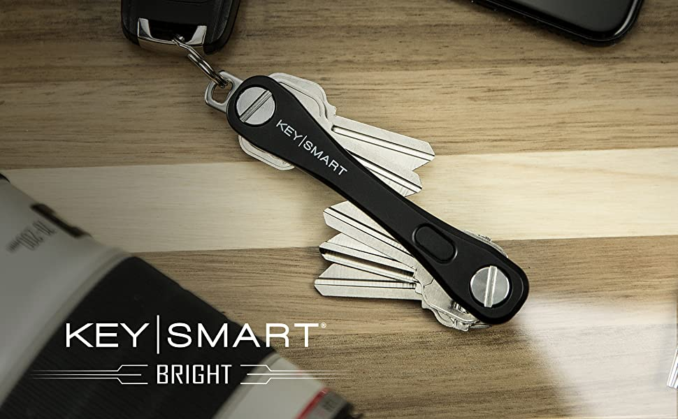 KeySmart Bright - Compact Key Holder with LED Flashlight Plate (up to 10 Keys, Black)