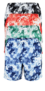 "vbranded men's quick-dry tie dyed 6"" swim trunks with mesh lining blue red black green beach sun"