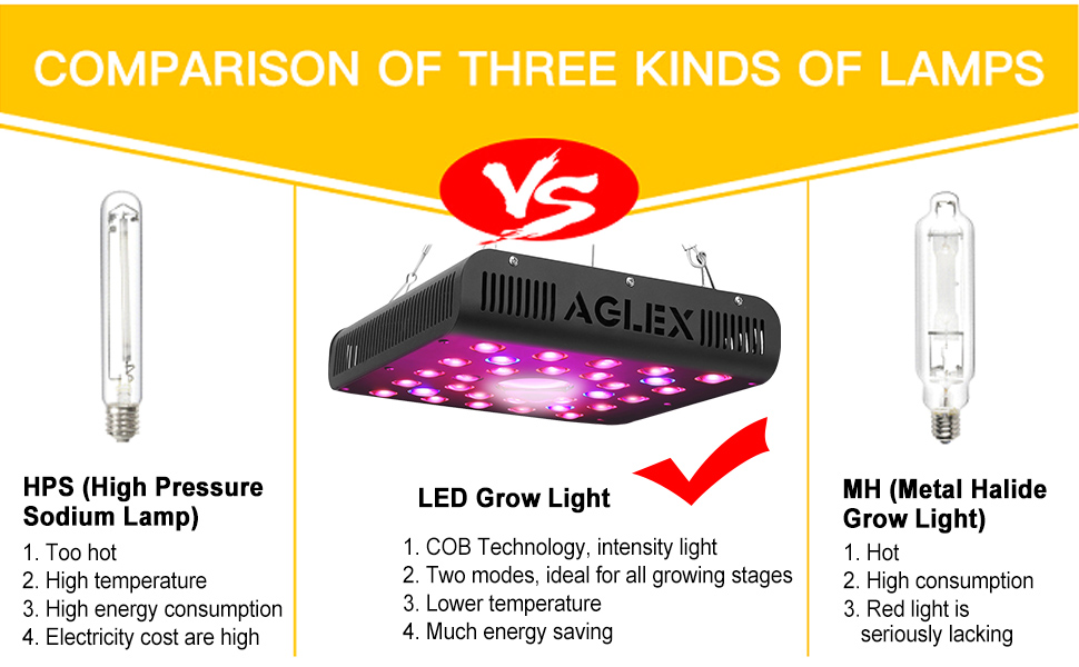 comparision of different kinds of grow lights