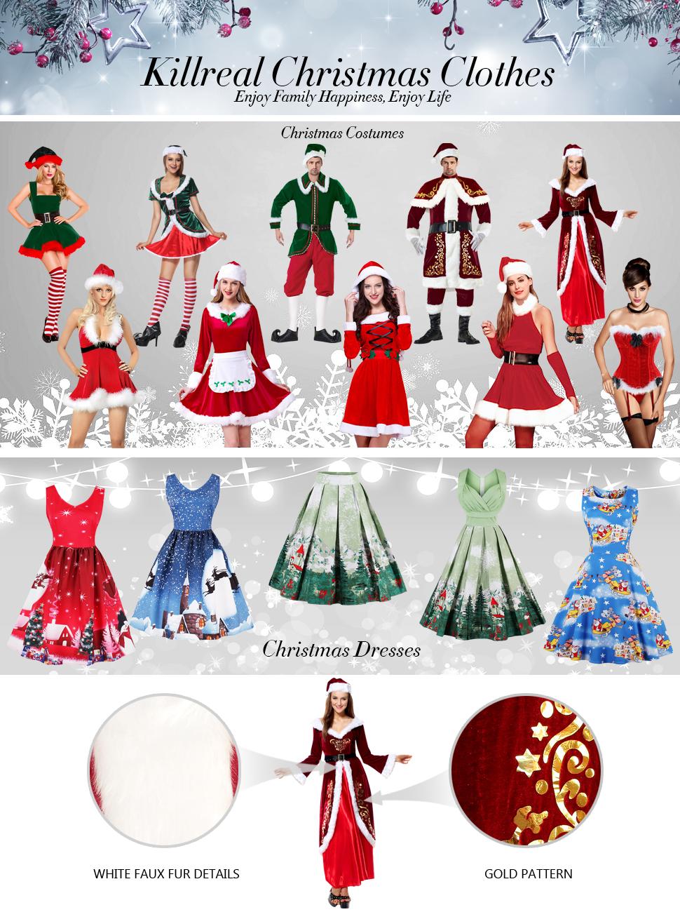 Amazon.com: Killreal Women\'s Velvet Mrs Santa Claus Costume Mother ...