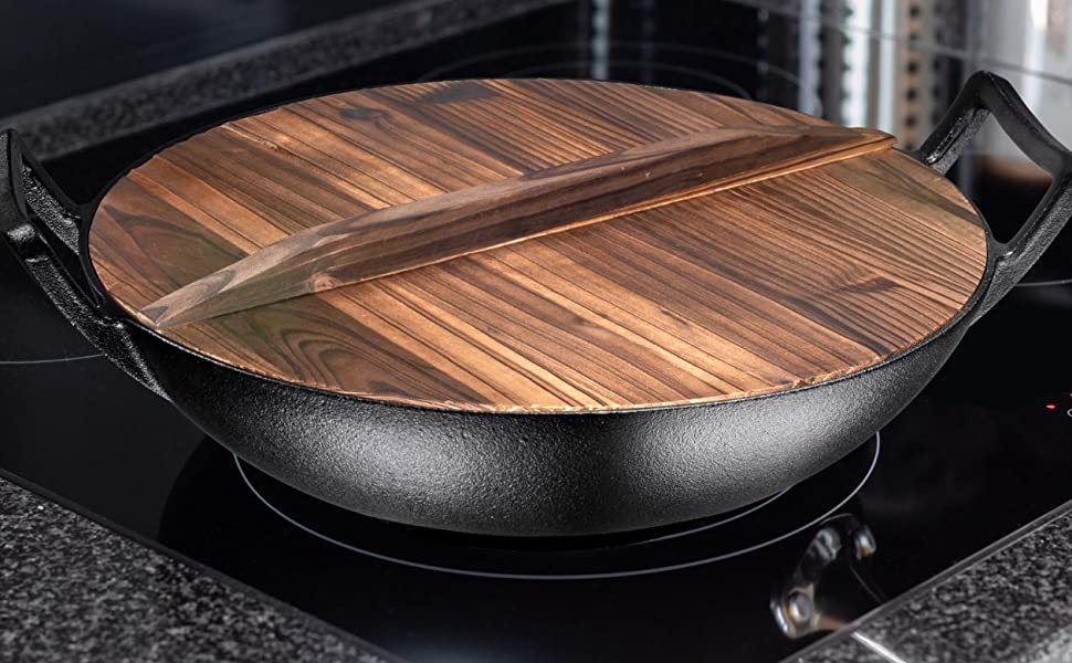 wooden lid with cast iron wok