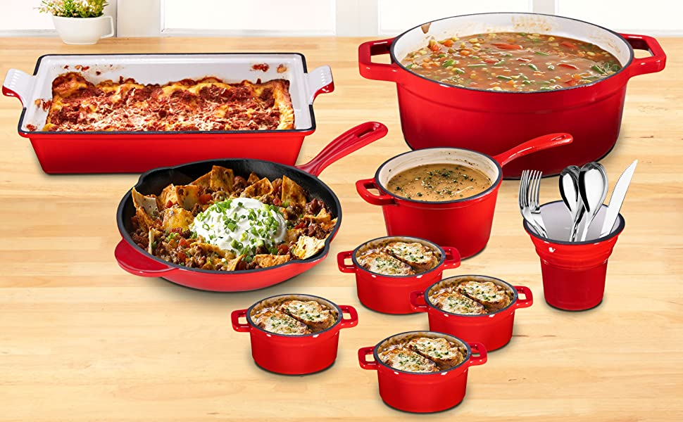 21 Piece Enameled Cast Iron Set, Fire Red