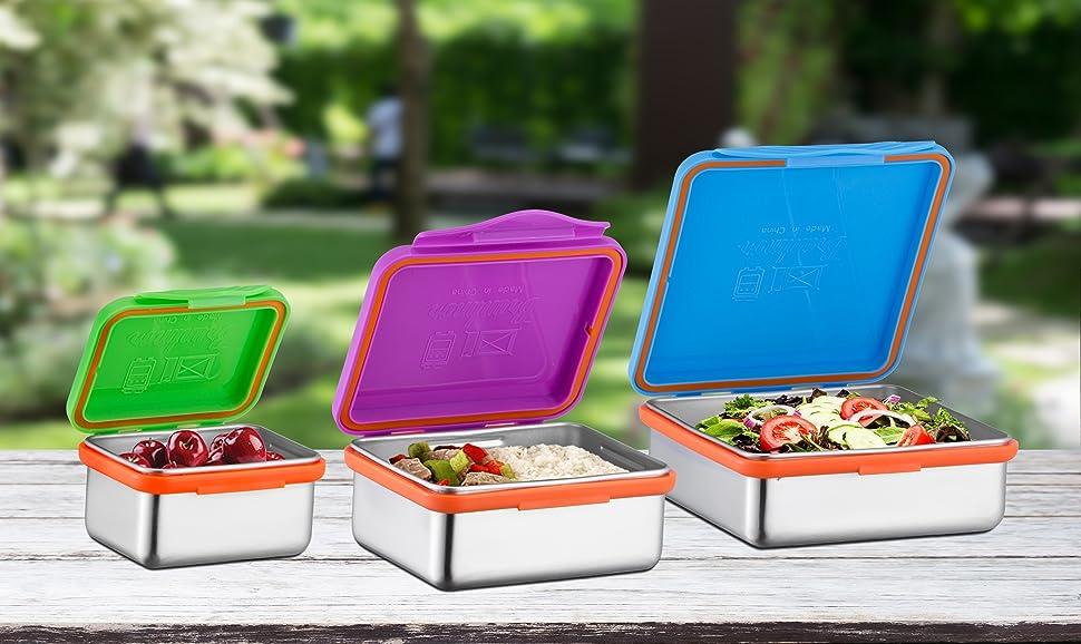Amazon.com: Acero inoxidable contenedores de alimentos con ...