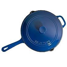 cast iron saute pan blue