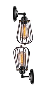 Wire Cage Industrial Wall Sconce 2 Pack