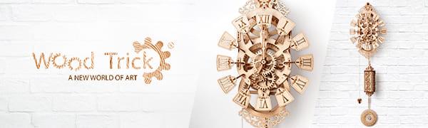 pendulum wall clock, wood trick puzzles, 3d puzzle, timekeeper, watch, clock