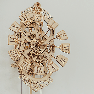 pendulum clock kit, wall clock, wooden clock kit, 3d puzzle for adults and kids