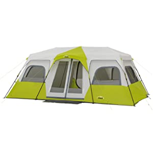 Hero Image, Core 12 person instant cabin tent, green and light grey, rainfly, doors, windows