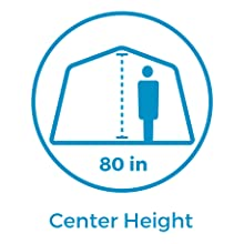 Technical specification 80 inch center height, tall person can stand in tent, cabin style tent