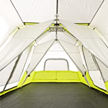 Core 12 Person Instant Tent interior with room dividers, three separate rooms, windows, large space