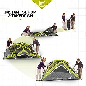 Pre-assembled Frame!  sc 1 st  Amazon.com & Amazon.com : CORE 3 Person Instant Dome Tent - 7u0027 x 7u0027 : Sports ...