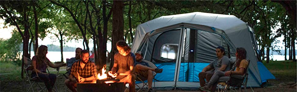tent, big tent, tent with light, family tent