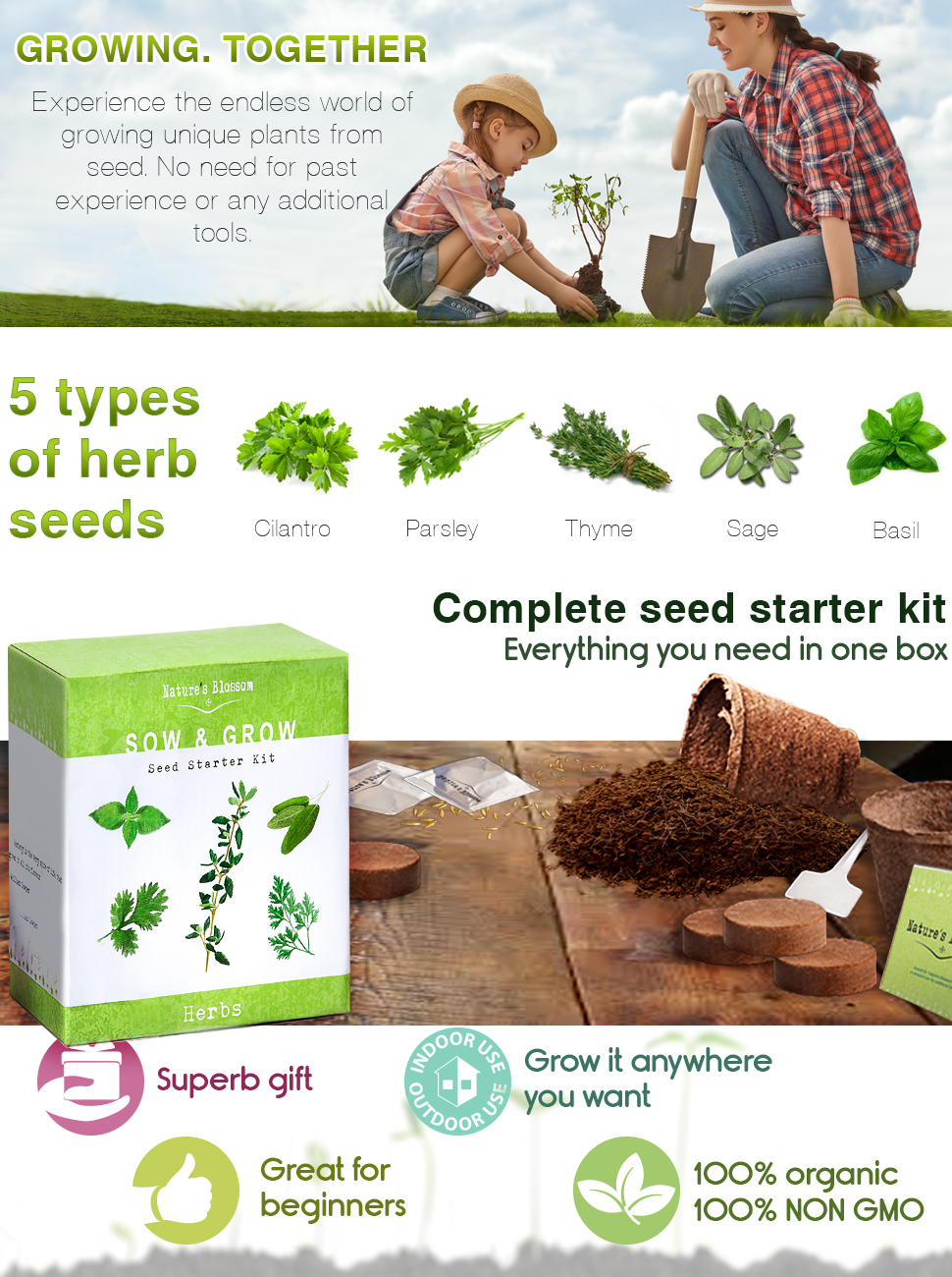Amazoncom Grow 5 Herbs From Organic Seeds with Natures