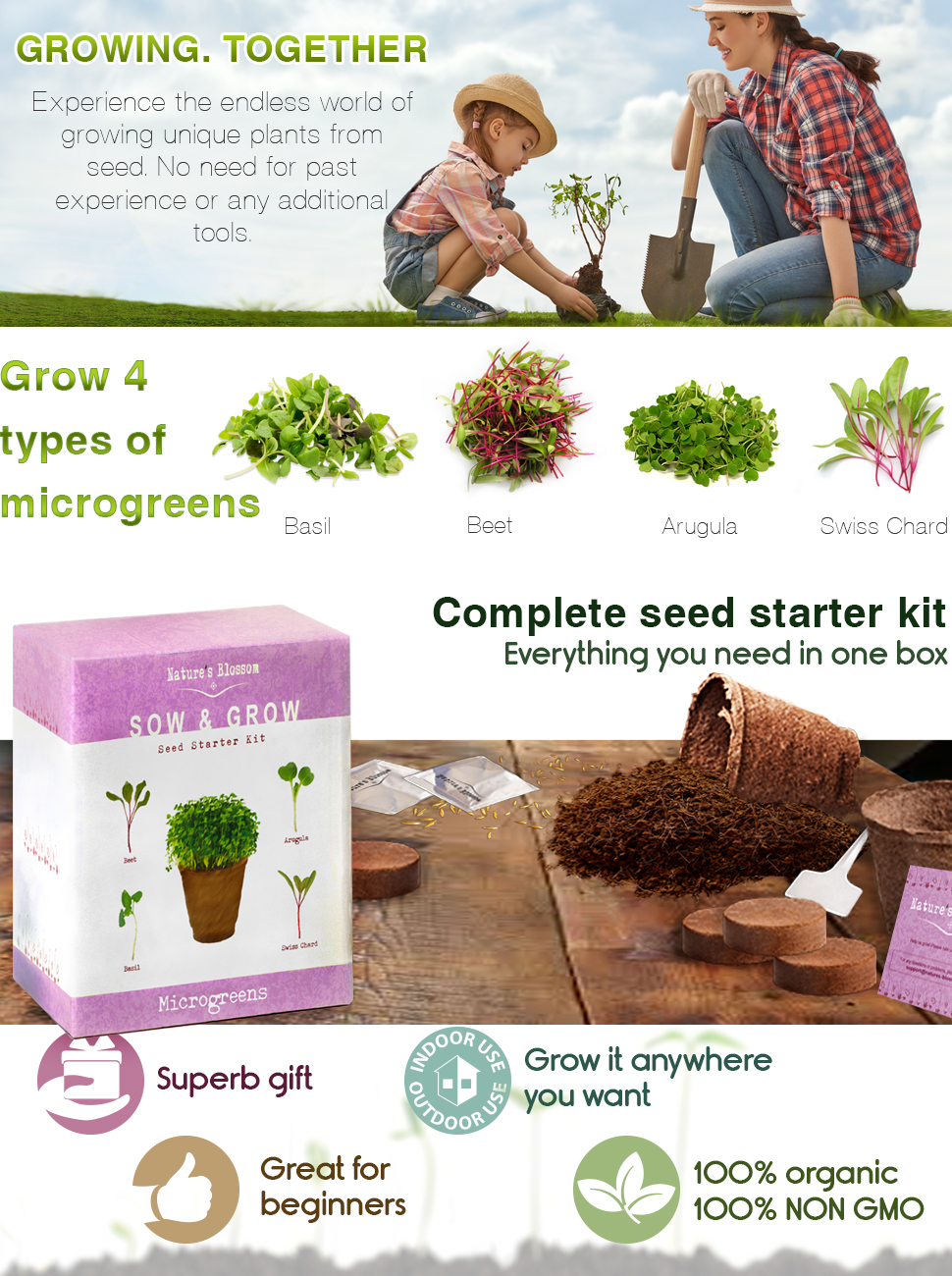 everything you need to grow 4 types of microgreens from seed no additional tools or past experience required get you microgreens starter kit today