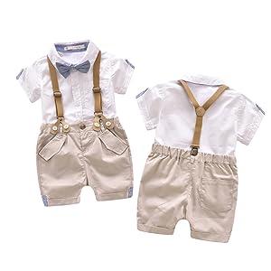 03ed5b79e Amazon.com  EGELEXY Toddler Baby Boys Gentleman Outfits Short Sleeve ...